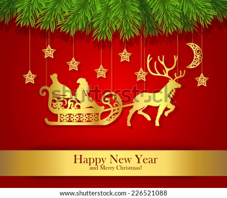 New Year greeting card with gold silhouette of Santa Claus. Carved golden paper silhouette of Santa Claus on sleigh. Red background decorated with fir branches. Vector - stock vector