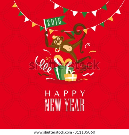 New year greeting card with monkey vector illustration - stock vector