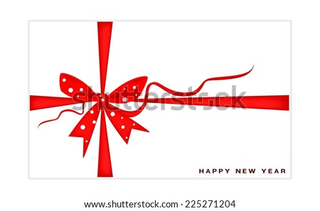 New Year Greeting Card with Red Bows and Ribbon, Copy Space for Text Decorated.  - stock vector