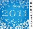 New Year 2011 greeting card with snowflakes 2 - stock vector