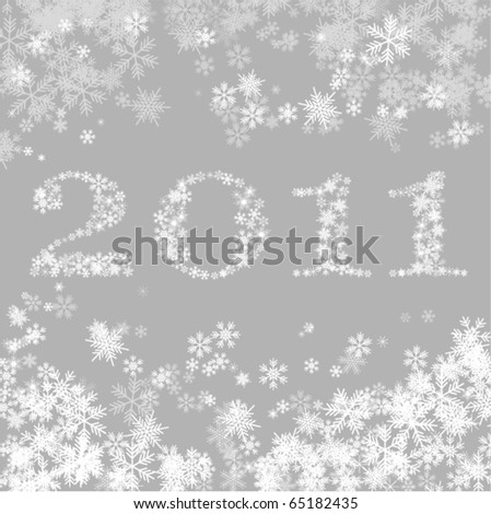 New  Year 2011 greeting card with snowflakes - stock vector