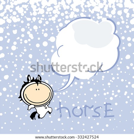 New year greeting card with the Horse and speech bubble window for your text - stock vector