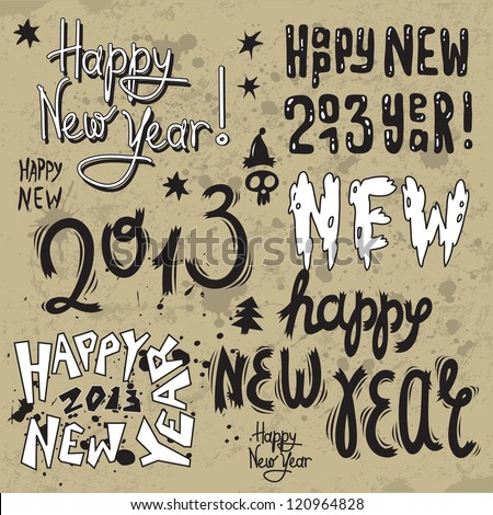new year greeting design with words Happy New Year 2013 - stock vector