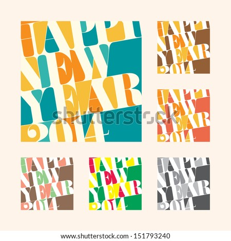 New year 2014 Greeting tag and label, EPS10 vector format - stock vector