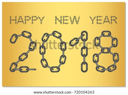 New year greetings 2018 words happy stock vector 720104263 new year greetings for 2018 with the words happy new year from steel chain on a m4hsunfo