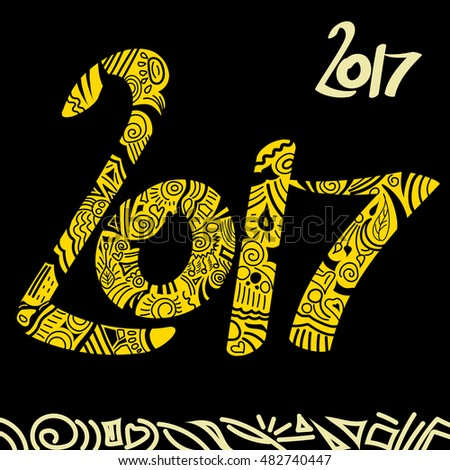 New Year 2017 hand drawn yellow vector doodle sign on blaack background. Happy new year greeting card with doodles. 2017 new year background.