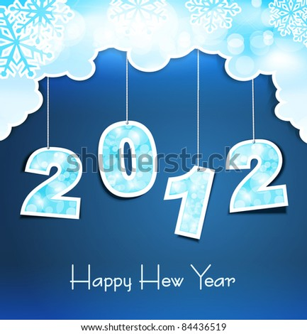 New Year holiday background with the numbers 2012 on the blue sky - stock vector