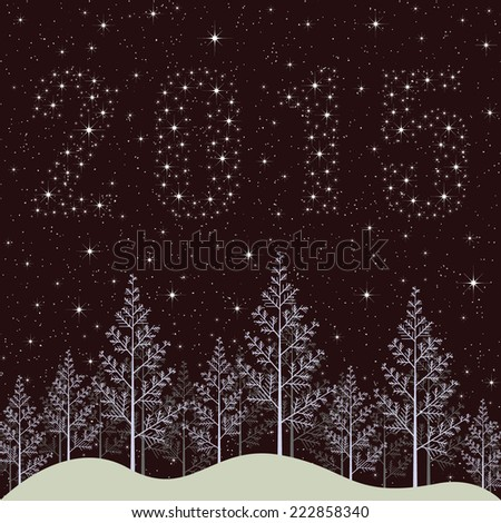 New year 2015 holiday illustration. Snowy winter forest night with bright stars. - stock vector