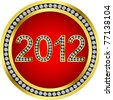 New year 2012 icon golden with diamonds, vector - stock photo