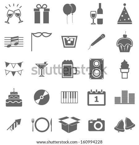 New Year icons on white background, stock vector - stock vector