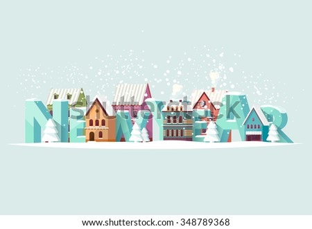 New year illustration. Greeting card. - stock vector