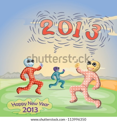 new year 2013 illustration with 3 happy children jumping on green grass - stock vector