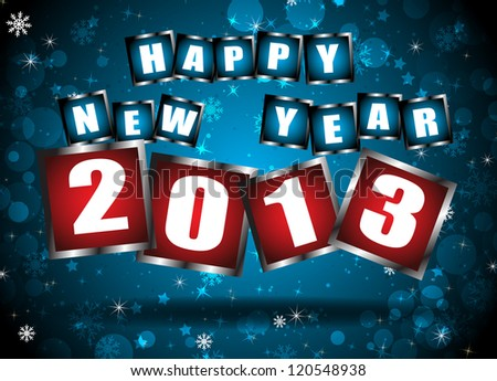 New year 2013 in blue background. Clip-art - stock vector