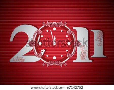 New year 2011 in red background. Vector illustration - stock vector