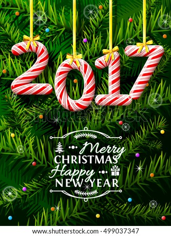 New Year 2017 in shape of candy stick against pine branches. Year number like holiday candies. Vector illustration for new years day, christmas, winter holiday, sweet-stuff, new years eve, food, etc