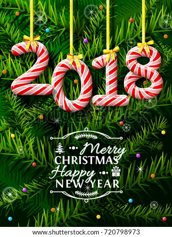 New Year 2018 in shape of candy stick against pine branches. Year number like holiday candies. Vector illustration for new years day, christmas, winter holiday, sweet-stuff, new years eve, food, etc