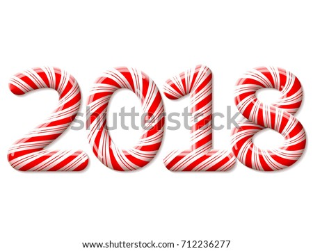 New Year 2018 in shape of candy stick isolated on white. Year number as striped holiday candies. Vector design element for christmas, new years day, sweet-stuff, winter holiday, new years eve, food