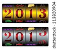 new year 2013 in slot machine in golden and silver variants - stock vector