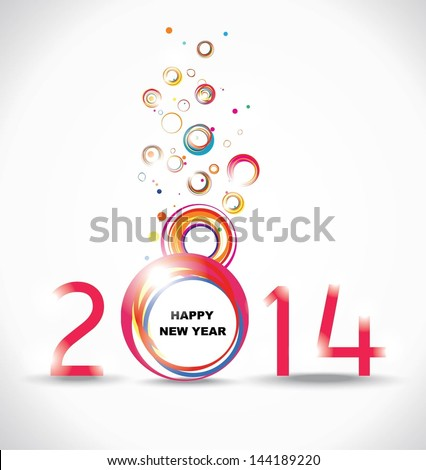 New year 2014 in white background - stock vector