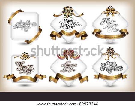 new year label collection - stock vector