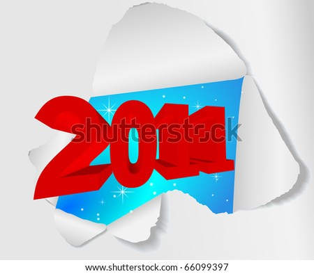 New year label - Hole in the sheet of paper. Vector.