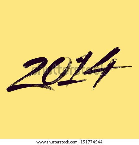 New year 2014 lettering. Writing 2014. - stock vector