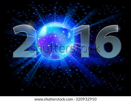 New Year 2016: metal numerals with disco ball instead of zero
