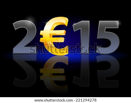 New Year 2015: metal numerals with euro instead of zero having weak reflection. Illustration on black background. - stock vector
