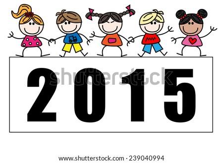 new year 2015 mixed ethnic children - stock vector