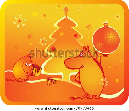 new year of moomintrolls - stock vector