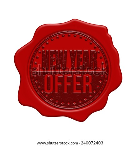 New Year offer red wax seal isolated on white background, vector illustration
