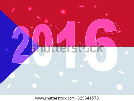 New Year 2016 on a background of the flag Czech Republic