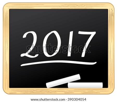 New Year 2017 on a school slate. Vector icon. - stock vector