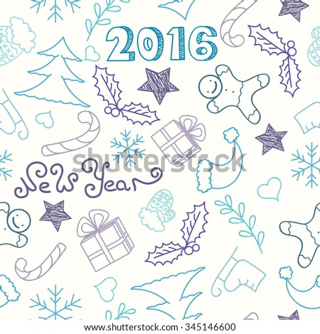 New Year or Christmas doodle seamless pattern. Hand drawn vector background.