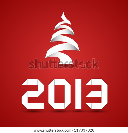 New 2013 Year Origami - stock vector