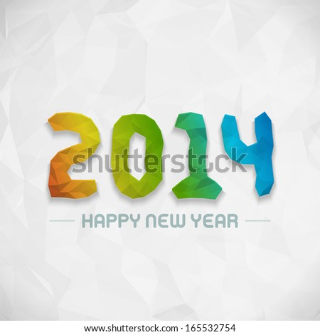 New year - 2014 origami message design vector background. Happy new year text and 3d numbers greeting card.
