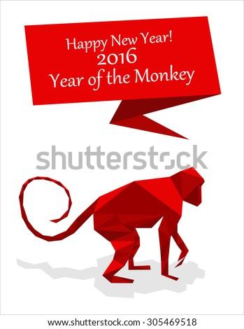 New year origami paper Monkey. 2016 celebration card. Monkey stylized triangle polygonal model. Happy New Year greeting card. - stock vector