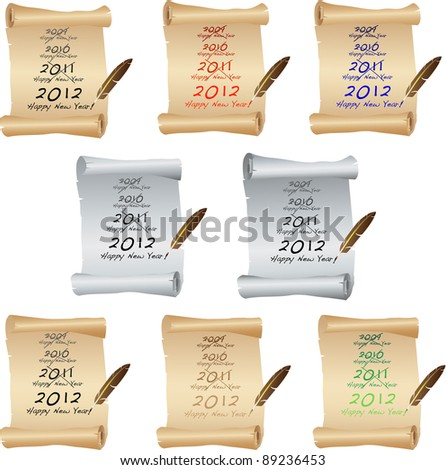 New Year Parchment. Vector - stock vector