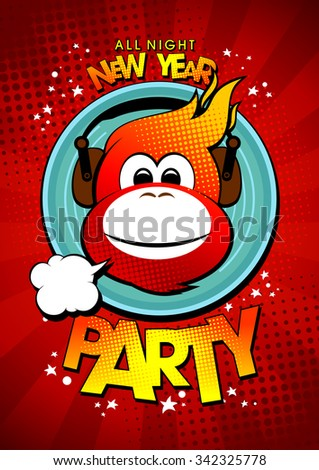 New year party design with hot monkey in earphones against vinyl. - stock vector