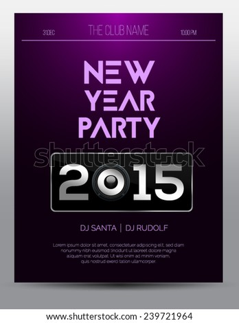 New year party flyer template - night club event - purple design - stock vector