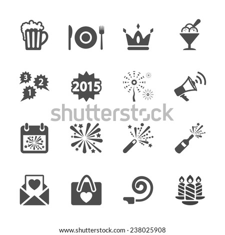 new year party icon set 3, vector eps10. - stock vector