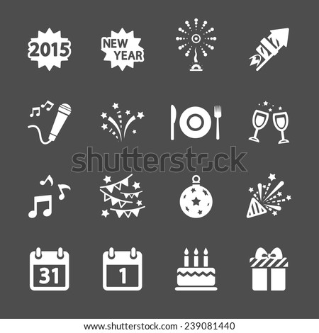 new year party icon set, vector eps10. - stock vector