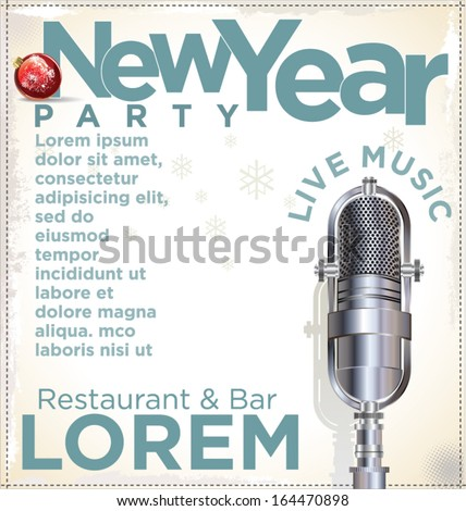 New Year party poster - stock vector