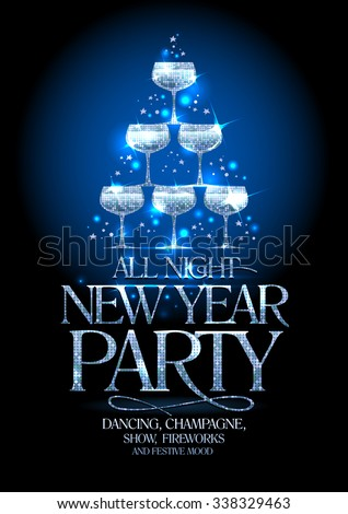 New Year party poster with silver stack of champagne glasses, decorated sparkling stars, vector illustration.
