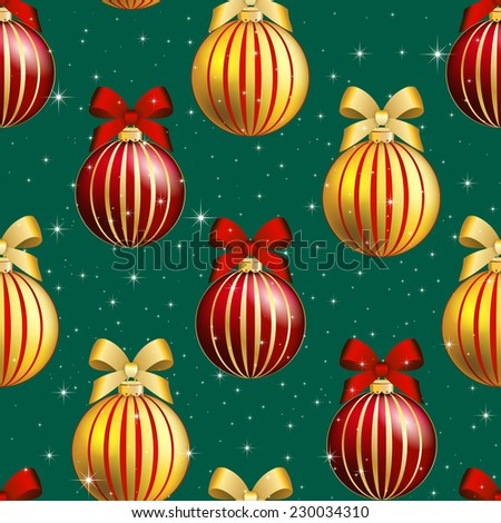 New Year pattern with Christmas ball. Christmas wallpaper with bow and ribbon. Sparkles and bokeh. Shiny and glowing - stock vector