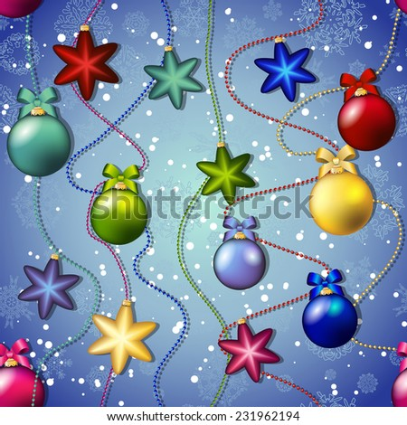 New year pattern with Christmas tree toys. Ball and star. Beads garland. Backdrop with snowflakes - stock vector
