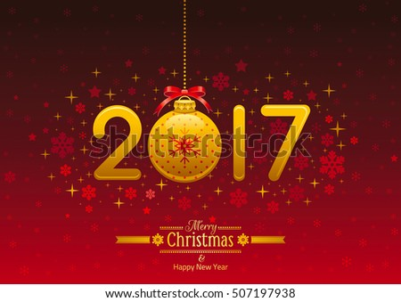 New Year 2017 placard banner template design, vector illustration. Golden numbers decoration, ball, retro text lettering. Isolated on dark red.