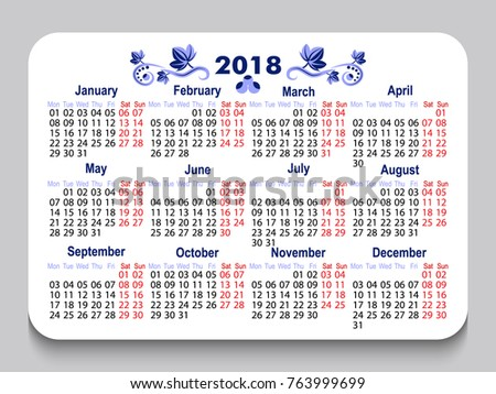 new year 2018 pocket calendar modern stock vector 763999699 shutterstock. Black Bedroom Furniture Sets. Home Design Ideas