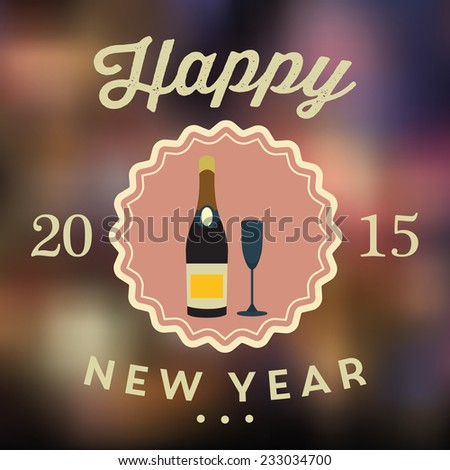 New Year poster in flat design style / New Year poster with HAPPY NEW YEAR 2015 inscription / Typographic vector illustration - stock vector