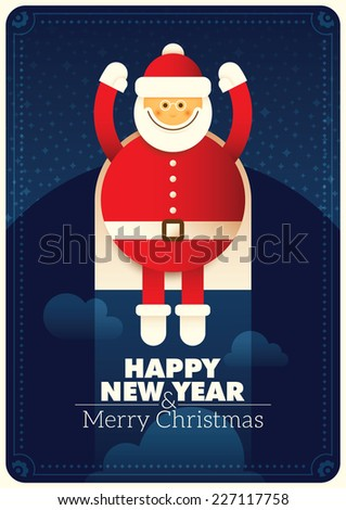 New Year poster with comic Santa. Vector illustration. - stock vector